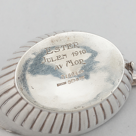 A silver mocha pot, creamer and sugar bowl, swedish import mark of nl dahlström & co, örebro 1930.