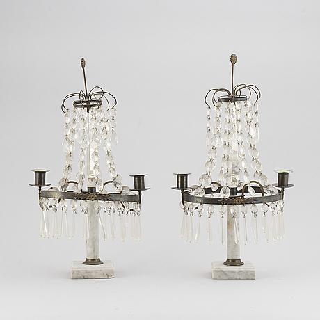 A pair of louis xvi-style  20th century two-light table girandoles.