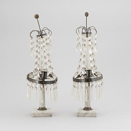 Bordslystrar, ett par, louis xvi-stil, 1900-tal.