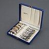 "Tårtbestick, tårtgafflar, skedar mm, modell ""rosen"", 33 delar, silver, gewe, malmö, 1960/70-tal."