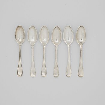 212. A set of six Swedish 18th century silver dessert-spoons, mark of Lars Boye, Stockholm 1781.