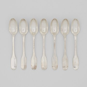 213. A set of seven Swedish 18th century silver ice cream-spoons, mark of Petter Åkerman, Stockholm 1792.