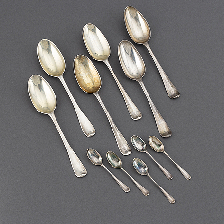 6 english silver spoons, 18th century.
