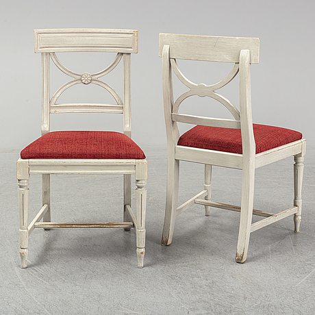 Eight late 20th century gustavian style chairs.