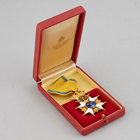 Order of the sword, sweden, knight's cross, gold and enamel. in case. cf carlman stockholm 1964.