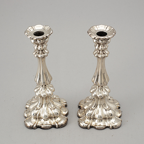 A pair of similar swedish silver candlesticks, k. andersson, stockholm 1927-28.