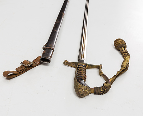 A swedish officer's sabre 1899 pattern with scabbard.