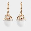 A pair of brilliant cut diamond and white agate earrings.