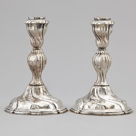 A pair of silver candlesticks, norway, mid 20th century.