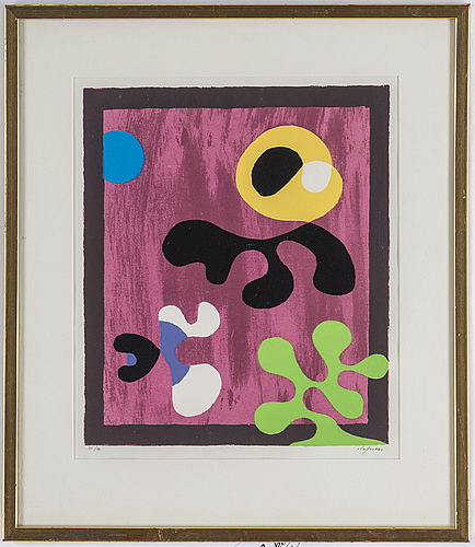 Pierre olofsson, silkscreen in colors, signed and numbered 21/40.