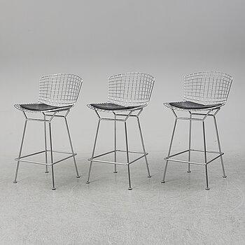 HARRY BERTOIA, three bar stools, Knoll International.