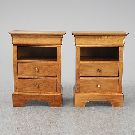 An end of the 20th century cherrywood bedside tables.