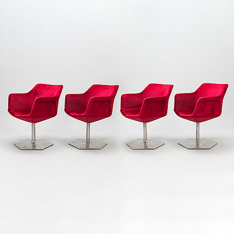 Voitto haapalainen, four 1970s 'prisma' armchairs for martela.