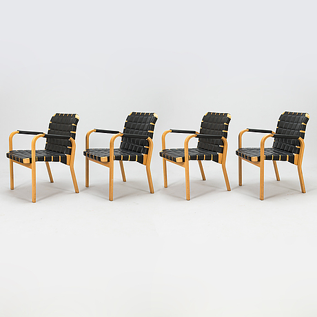 Alvar aalto, four late-20th-century '45' armchairs for artek.