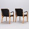 Alvar aalto, four late-20th-century '45' armchairs for artek.