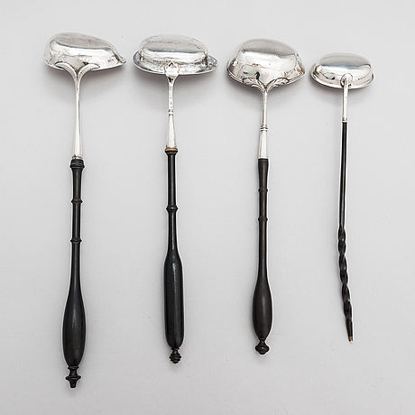 Four silver ladles, sweden and england, 18th and 19th centuries.