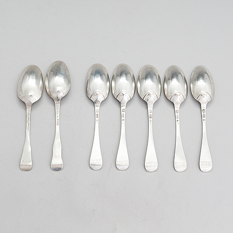 Lusikoita, 7 kpl, hopeaa, ruotsi 1759-1791, h.j. bollwij ja c. fahlberg.