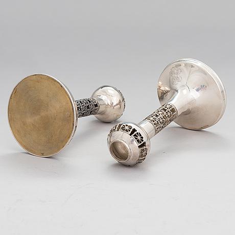 Pentti sarpaneva, a pair of silver candlesticks, turun hopea, turku 1978.