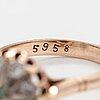 Ring, 14k guld, beryll, diamanter ca. 0.40 ct tot. sovjetunionen.