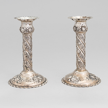 A pair of silver candlesticks, helsinki 1957.