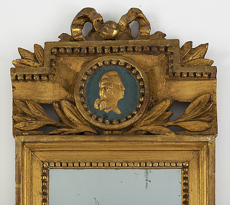 A late gustavian gilt mirror, early 19th century,