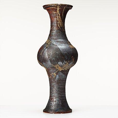 Kyllikki salmenhaara, a stoneware floor vase, arabia, finland 1950's.