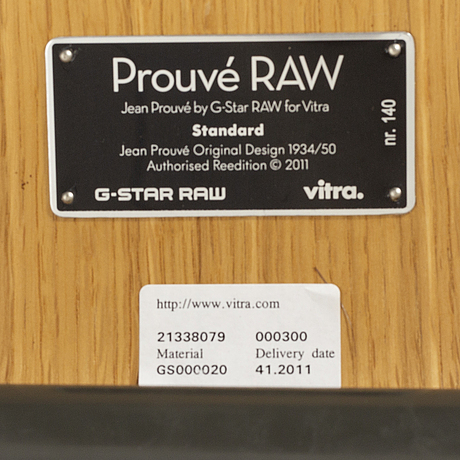 Jean prouvÉ, four chairs prouvé raw standard, numbered and limited edition, g-star raw, for vitra 2011.