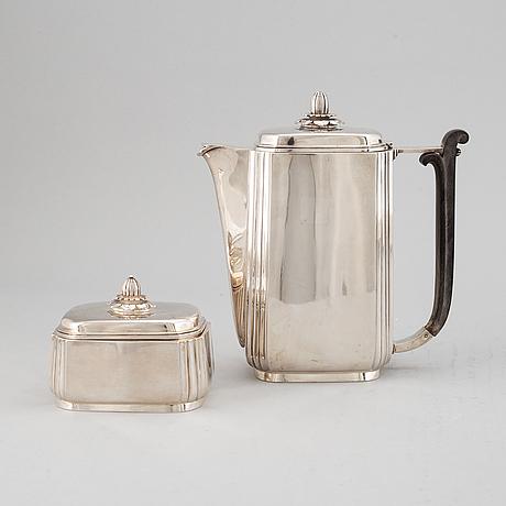 Borgila, kaffekanna och sockerskrin, silver 925/1000, stockholm 1954.
