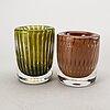 Ingeborg lundin, two orrefors ariel glass vases. second assortment.