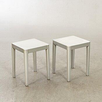 "PHILIPPE STARCK, a pair of 21st century ""Emeco Stool"" in brushed aluminium."