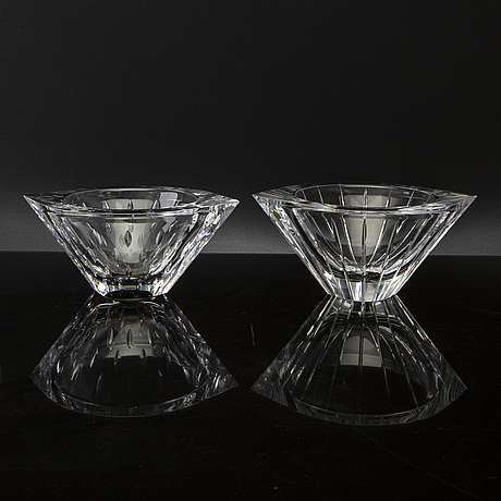 Jan johansson, two signed orrefors glass bowls. models. 21th century.