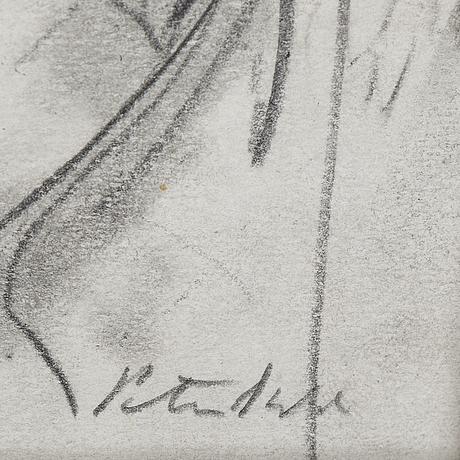 Peter dahl, kol på papper, signerad peter dahl.