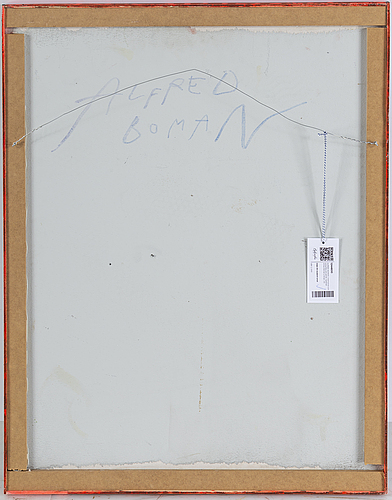 Alfred boman, glue emulsion and spay colour on panel, signed alfred boman verso.
