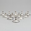 Atelier borgila, a set of 12 sterling  silver candlesticks, stockholm 1964.