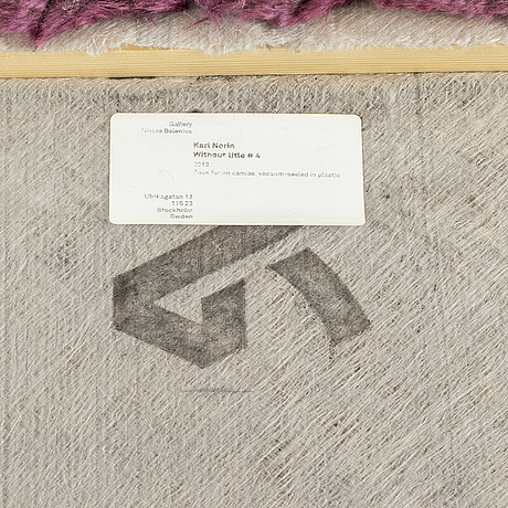 Karl norin, faux fur on canvas, vacuum-seeled in plastic, signed and dated 2013 on verso.