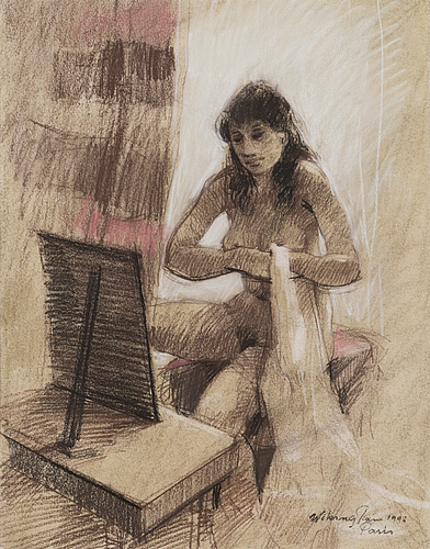 Viking forsström, crayon drawing, signed and dated paris 1992.