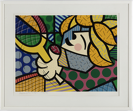 Romero britto, silkscreen, 1984, signed in pencil and numbered 229/300.