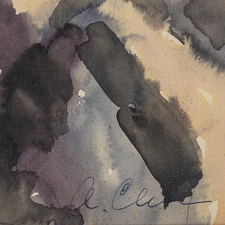 Agnes cleve, akvarell, signerad.