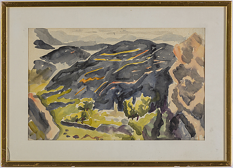 Agnes cleve, watercolour, signed.
