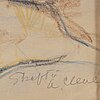 Agnes cleve, chalk drawing, signed.