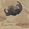 Agnes cleve, watercolour, signed and dated broussa oct 1931.
