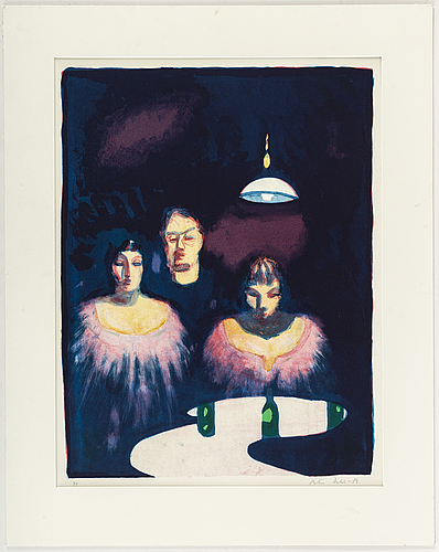 Peter dahl, lithograph in colours, 1988, signed pt.