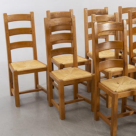 Stolar, 11 stycken, så kallade stegstolar, 1900-tal.