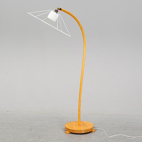 A swedish modern birch floor lamp, 1940's.