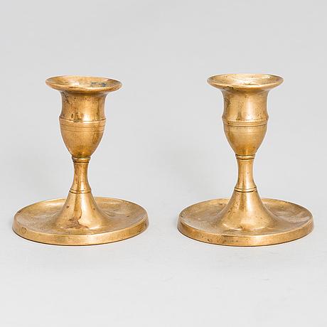 Ljusstakar, ett par, leander helander, stämplade lh 1854. kalajoki.