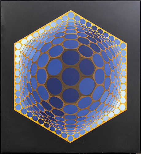 Victor vasarely, a signed and numbered 242/250 silkscreen.
