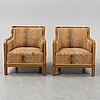 A pair of easy chairs by david blomberg, 1930s.