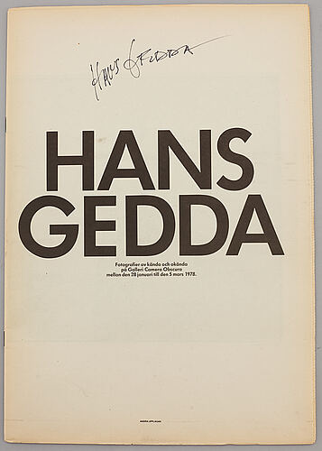 Hans gedda, 2 books and an exhibition catalogue. all of them signed.
