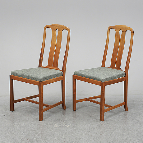 Carl malmsten, six 'ambassadör' walnut chairs.
