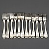 Twelve swdish early 19th century silver dinner-forks, mark of weterstråhle and floberg, stockholm 1802-1809.